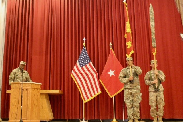 Col. Mondrey O. McLaurin, 595th Transportation Brigade commander, speaks during a transfer of authority ceremony where 1173d Transportation Battalion handed authority to the 1188th Transportation Battalion at Camp Arifjan, Kuwait, Aug.13, 2019. (U.S. Army photo by Claudia LaMantia)