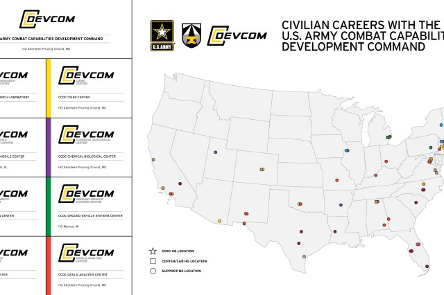 A civilian career with the U.S. Army Combat Capabilities Development Command can take you across the country. CCDC's national reach of supporting locations enables development of materiel solutions for American Soldiers. The Command also has locations overseas where we enable Army Modernization around the world with our service components, allies and partners.