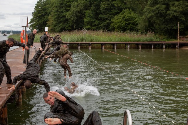 U.S. and Polish Soldiers conduct water survival training hosted by 15th Mechanized Brigade in Gizycko, Poland, Aug. 12-14.