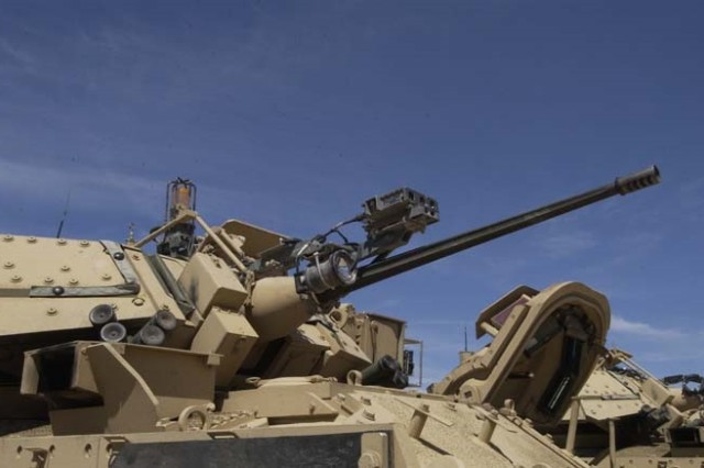 The 25mm gun mount supports the gun barrel on the M2 Bradley Fighting Vehicle. When the mount begins to wear unevenly, the barrel becomes less stable. The Army is evaluating if a cold spray process can be used to repair the gun mount.