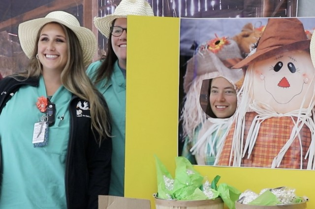 "(From left) BACH nurses Jessica Fullwood, Kaitlyn Henderson and Jackie Cropper pose at a photo booth set up at the ""Cultivating your Skills"" nursing skills fair. More than 60 nurses from BACH's Labor and Delivery and Mother Baby Units participated the training at the hospital. Nursing skills fairs are commonly used in the health care industry to give nurses practice and refresher training on a variety of topics to maintain proficiency."