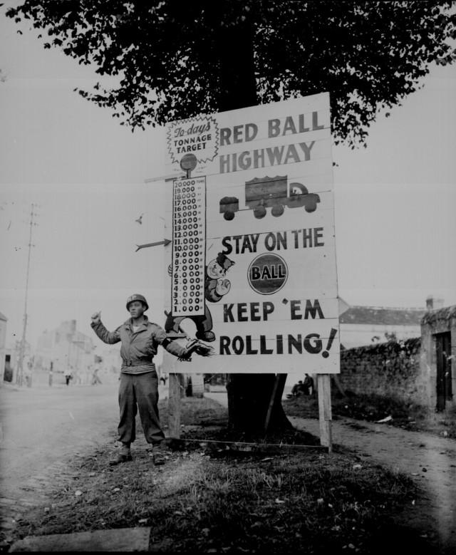 Photo of Red Ball Express Sign (circa 1944)