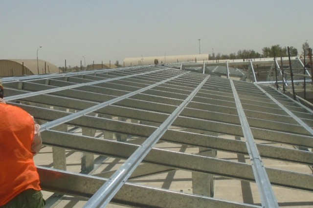Roof framing is underway on the Life Support Area at the Aviation Enhancement Project in Kandahar.