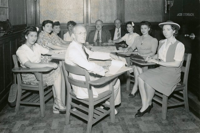 On the far left, Hana Oren, and the rest of the Signal Corps Ground Signal Service Recreation Committee, June 1943.