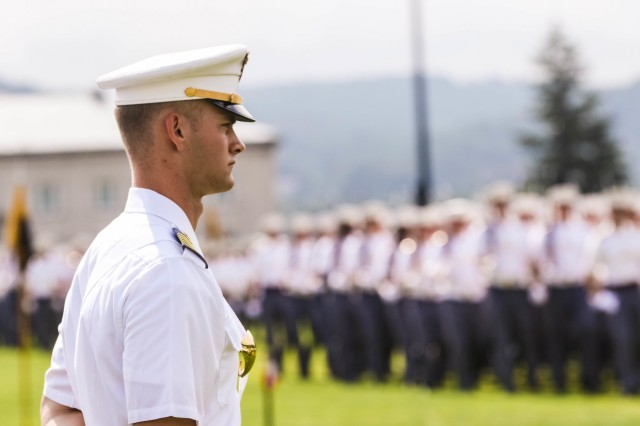 The U.S. Military Academy Corps of Cadets takes part in the review portion of the Acceptance Parade Aug. 17, 2019. The members of the Class of 2023 officially joined the Corps of Cadets during the parade.