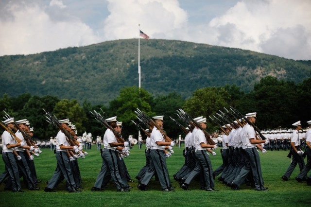 The United States Corps of Cadets assembled on the Plain, Aug. 17, for the Acceptance Day Parade to officially welcome the Class of 2023 into the Corps. (U.S. Army Photo by Cadet Amanda Lin)