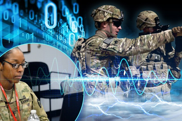 The Army is looking to incorporate the Electronic Warfare Planning and Management Tool in the military decision-making process. Capt. Sacarra Pusey, foreground, an electronic warfare officer hailing from Fort Polk, La., worked with the device in February in Aberdeen Proving Ground, Md.