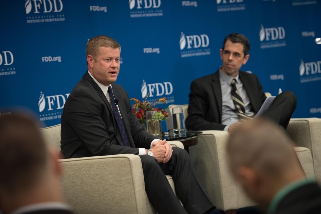 Acting Army Secretary Ryan D. McCarthy speaks with Bradley Bowman, senior director of the Foundation for the Defense of Democracies Center on Military and Political Power, about the Army's efforts regarding the National Defense Strategy in Washington, Aug. 20, 2019.
