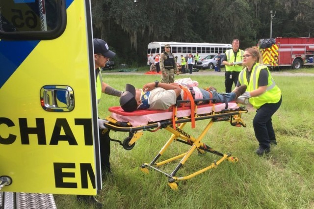 Fort Stewart and Hunter Army Airfield first responders participate in a full scale exercise to test the installation's preparedness and ability to respond in an emergency. This exercise simulated a downed aircraft at Hunter.