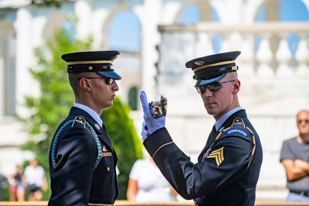 Tomb sentinels from the 3d U.S. Infantry Regiment (The Old Guard), participate in the Changing of the Guard ceremony at the Tomb of the Unknown Soldier at Arlington National Cemetery, Arlington, Virginia, Aug. 6, 2019.