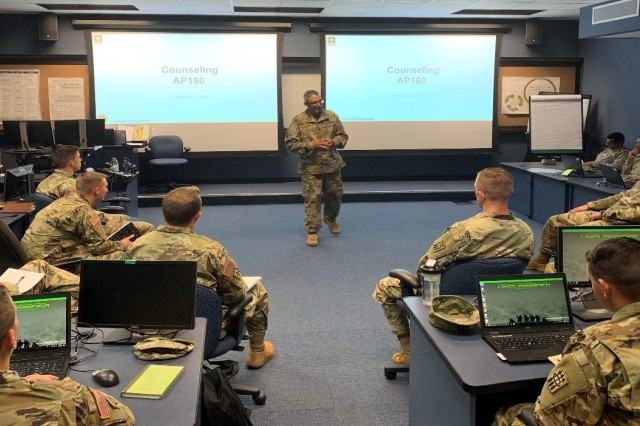 Air Defense Artillery captains of Class No. 04-19 listen as 1st Sgt. Mica Snell, D Battery, 1st Battalion, 79th Field Artillery, shares insight and wisdom he's gained and applied leading Soldiers July 25, 2019, at Fort Sill, Okla. Snell has been a first sergeant for about three years, serving three commanders.