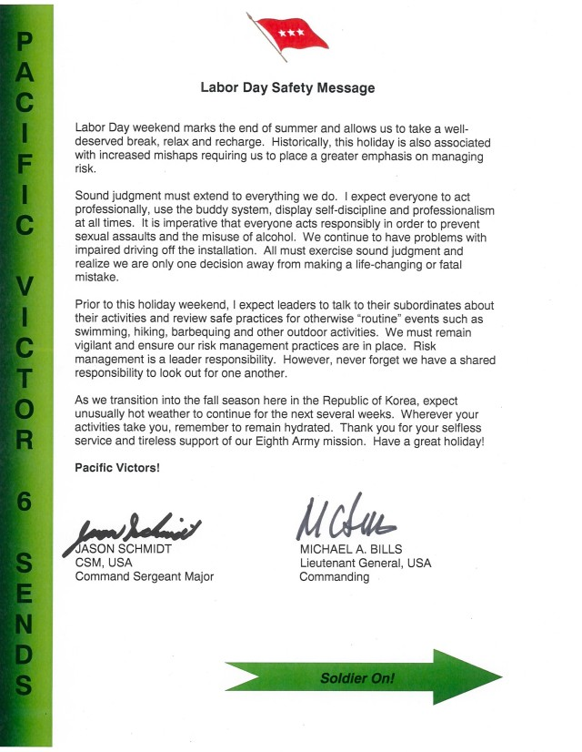 Labor Day Safety Message