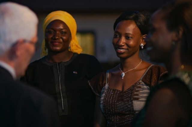 Women and men from African and Western partner nations attend a U.S. Embassy-hosted Women, Peace and Security Reception during the annual special operations exercise Flintlock 2019 in Burkina Faso, Feb. 19, 2019. Attendees discussed the growing support and integration of women to tackle some of Africa's most complex and difficult challenges.