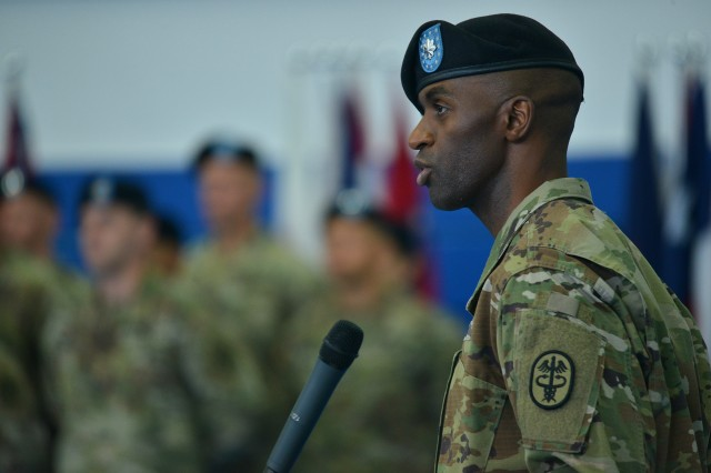 Lt. Col. Keith Burnette, outgoing commander, speaks during a U.S. Army Health Clinic Stuttgart Change of Command Ceremony at Patch Barracks, Stuttgart, Germany, Aug. 21, 2019. Lt. Col. Maria Bruton assumes command of the USAHC Stuttgart from Lt. Col. Keith Burnette.