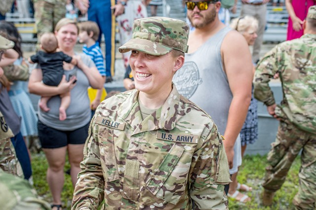 Staff Sgt. Amanda Kelley meets family and friends after becoming the first enlisted woman to graduate from the Army's Ranger School Aug. 31, 2018. She is currently assigned to the 3rd Special Forces Group at Fort Bragg, North Carolina.