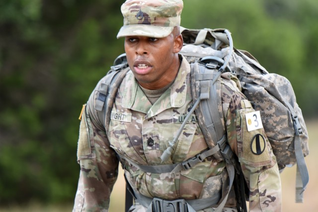 U.S. Army Sgt. Earnest Knight II, Drill Sergeant Academy on a ruck march. Knight is the 2019 U.S. Army Drill Sergeant of the Year.