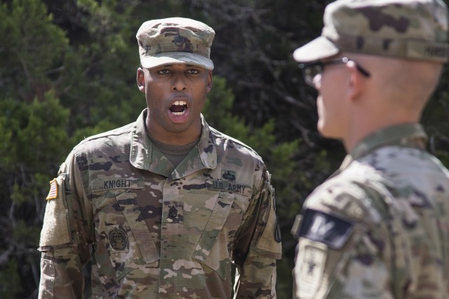 U.S. Army Staff Sgt. Earnest Knight II, U.S. Army Drill Sergeant Academy drill instructor, gives a Soldier commands on the situational training exercise lanes. Knight is the 2019 U.S. Army Drill Sergeant of the Year.