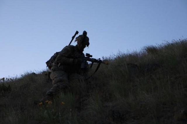A 1st Battalion, 17th Infantry Regiment Soldier maneuvers down a hillside during Bayonet Focus19, at Yakima Training Center, Washington, May 6, 2019. Bayonet Focus is the live portion of Joint Warfighter Assessment 19 to assess Multi-Domain Operations Concepts, Capabilities, and Formations to provide critical insights and feedback on Army Modernization.