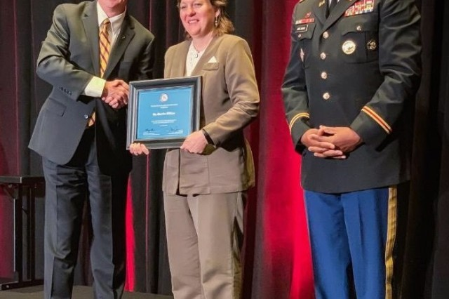 Martha Wilkins, Emergency Preparedness Liaison Officer, U.S. Army North, was recognized as one of the 2019 Joint Women's Meritorious Service Award recipients, at the Joint Women's Leadership Symposium (JWLS), held in Washington D.C., Aug. 23. The 32nd Annual symposium, which is the largest gathering of women in uniform in the nation, brings together women serving in the Department of Defense and Coast Guard including civilians, officers, enlisted, and cadets. JWLS has become a crucial component in the professional growth and development of women in our Armed Forces.