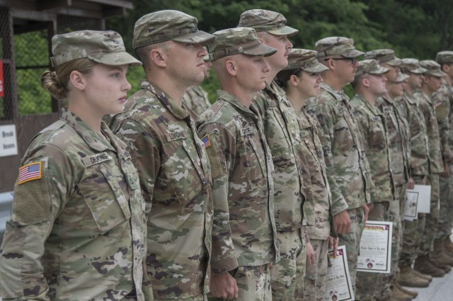 Nebraska National Guard Soldiers with the 1-134th Cavalry Squadron receive certificates and silver spurs after successful completion of a spur ride during annual training in the Republic of Korea June 21, 2019.