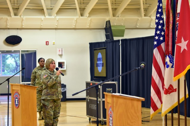 Major assigned to U.S. Army Cadet Command sings National Anthem
