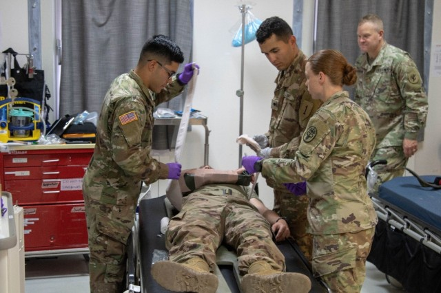 Combat medical specialists treat a simulated casualty during an emergency response exercise on Mihail Kogalniceanu Air Base August 22, 2019. The goal of the ERE was to conduct a safe and successful exercise, which challenges and prepares base personnel to prepare and manage a mass casualty causing event, whether it be a natural disaster, accident, terrorist or insider threat situation. Exercises like this also allow Army Support Activity Black Sea and MK AB garrison staff to develop reaction and contingency plans for real world situations regarding base emergencies.