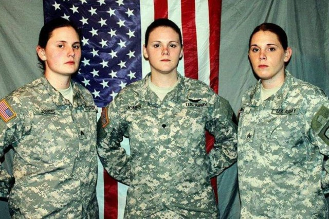 The Jones sisters, Sgt. Justine Jones, culinary specialist; Spc. Jenna Jones, aviation operations specialist; Sgt. Jeri Jones, dental specialist poses for a photo at the beginning of their military careers as future leaders in the Indiana Army National Guard.