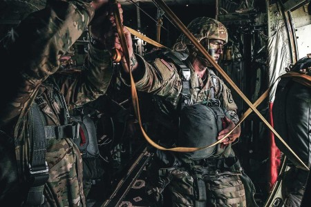 U.S. Army paratroopers assigned to 54th Brigade Engineer Battalion, 173rd Airborne Brigade, participate in an airborne operation in northeastern Italy, Aug. 8, 2019.