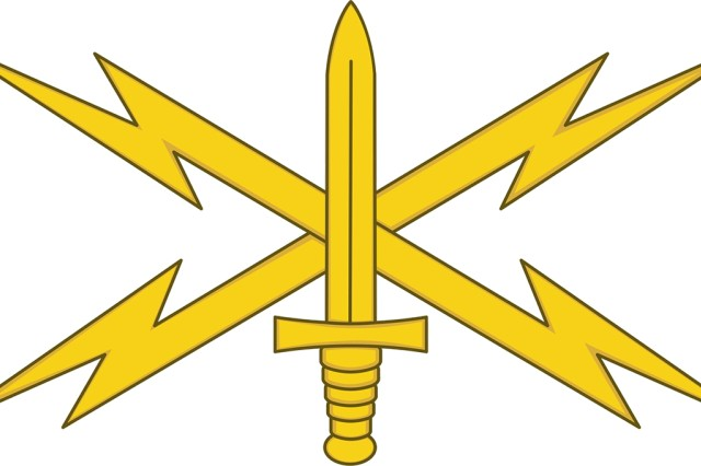 The insignia of the Army's Cyber branch centers on a dagger that signifies readiness to prevent global cyber incidents, over two crossed lightning bolts that symbolize the origins of the branch in the intelligence, security and communications disciplines.
