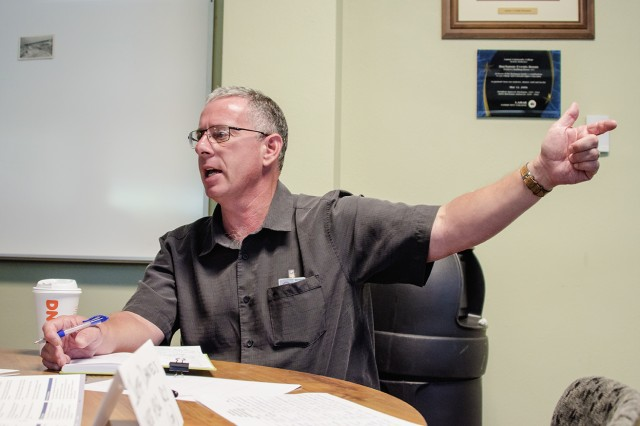 Jeff Daniels, chief, Readiness and Contingency Operations, USACE-Albuquerque District, discusses communications efforts during the exercise at Lamar Community College Aug. 15, 2019.