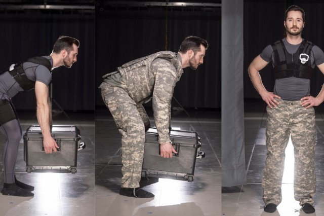 Erik Lamers, of Vanderbilt's CREATe Lab, demonstrates the use of a spring-powered exosuit with existing Army gear. Working with members of 3rd BCT, researchers from Vanderbilt developed the suit and other biomechanically assistive tools to reduce injury and lighten Soldiers' loads. (Photo by Joe Howell, Vanderbilt University)
