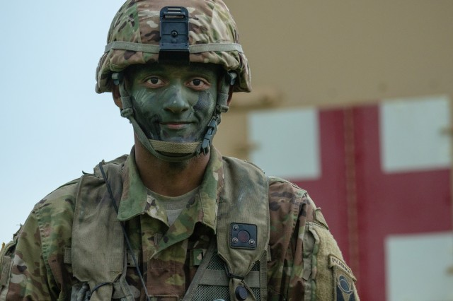 Spc. Micah Turnbull, 1-167th Infantry Medic, posses for a photo at Camp Shelby, Miss., on Aug. 14, 2019.