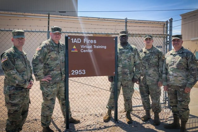 FORT BLISS, Texas - The 3rd Armored Brigade Combat Team, 1st Armored Division Target Mensuration Only Cadre included (from left to right) Chief Warrant Officer 2 Michael Finan, counter-fire officer, for 3rd Armored Brigade Combat Team, 1st Armored Division; Sgt. 1st Class Brock Benson, TMO evaluator with U.S. Army Multi-Domain Targeting Center; Chief Warrant Officer 3 Calvin Cameron, targeting officer for 3rd ABCT, 1st AD; Chief Warrant Officer 2 Joseph Kenny, field artillery intelligence officer for 3rd ABCT, 1st AD; and Chief Warrant Officer 4 Steven Fernandez, targeting officer for 1st AD conducted the TMO course certifying 12 Soldiers at Fort Bliss, Texas, Aug. 11-16. Incorporating TMO into a unit training plan allows ground force commanders to employ Army, joint, and multinational forces accurately and effectively while mitigating collateral damage during real-world operations, which increases a unit's readiness and lethality if called upon to respond to a contingency. (U.S. Army Photo courtesy 3rd Armored Brigade Combat Team, 1st Armored Division)