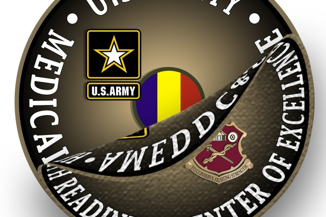 "This graphic for the Redesignation Ceremony planned for September 16, 2019, at which the AMEDDC&S HRCoE will change its name to the U.S. Army Medical Center of Excellence, or MEDCoE, depicts the current logo being peeled away, revealing a very small portion of the new MEDCoE logo bearing the new name.  The new logo, just like the current logo bears the Distinctive Unit Insignia, or crest, that was originally approved for the US Army Medical Field Service School on 17 June 1965. It was redesignated for the Academy of Health Sciences and amended to revise the symbolism on 20 February 1973 extending authorization of wear to personnel of the AMEDDC&S on 5 January 1993. The crest is adorned with a motto that reads ""To Conserve the Fighting Strength."" The new MEDCoE logo also bears U.S. Army and U.S. Army Training and Doctrine Command insignias."