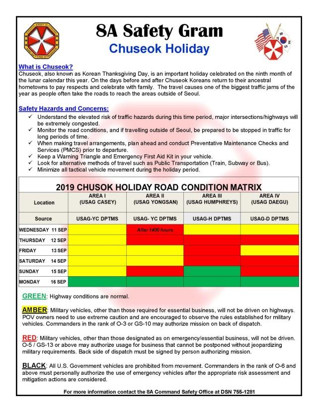 Eighth Army Safety Gram Chuseok Holiday