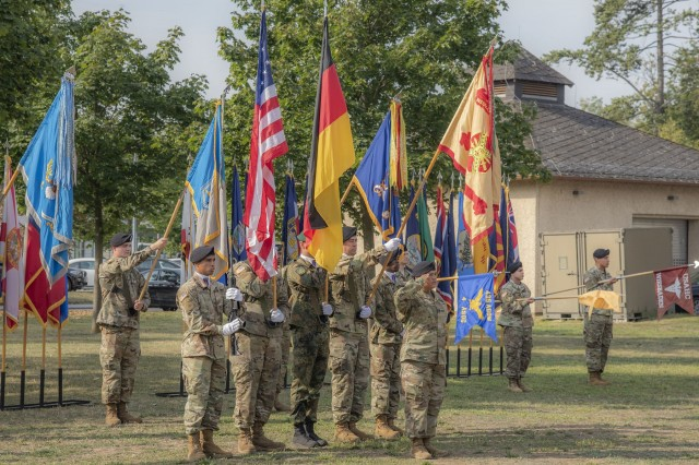 U.S. and German Soldiers at U.S. Army Garrison Wiesbaden's Clay Kaserne take part in the Assumption of Responsibility Ceremony Aug. 28, 2019, for Command Sgt. Maj. Christopher D. Truchon. (U.S. Army photo by Volker Ramspott)