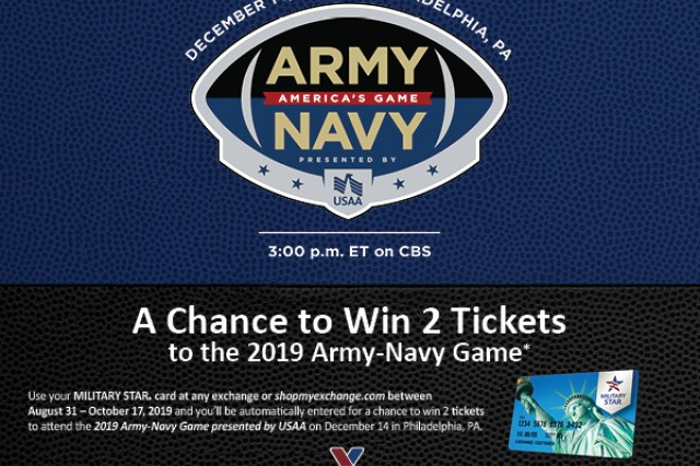 Military shoppers have a chance to cheer on the Army Black Knights and Navy Midshipmen in person at the 2019 Army-Navy Game just by shopping their military exchange or commissary with their MILITARY STAR card.