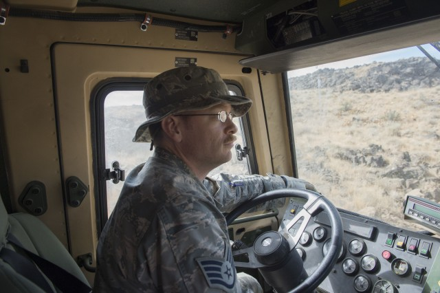 Idaho National Guard Airmen and Soldiers from the 124th Fighter Wing and the 116th Cavalry Brigade Combat Team participate in Innovative Readiness Training, helping repair and build new roads for the Shoshone-Paiute Tribe, Duck Valley Indian Reservation, Idaho, Aug 22, 2019. The IRT provides joint training opportunities to increase deployment readiness while benefitting the local community.