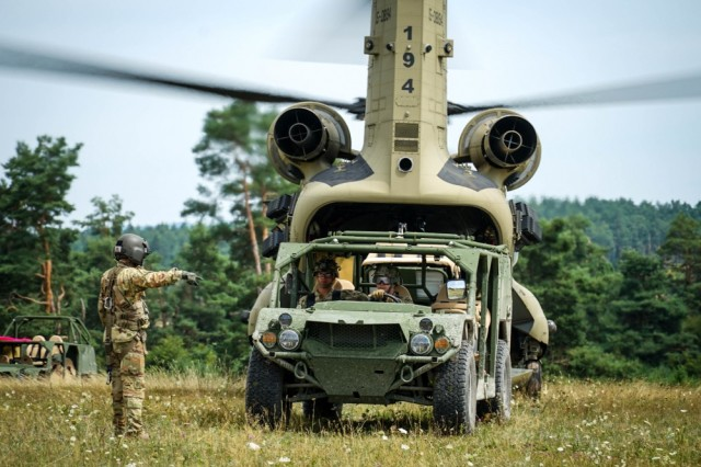Paratroopers with 2nd Battalion, 503rd Infantry Regiment (Airborne) test CH-47 Chinook capabilities by sling loading their newest vehicle, the Army Ground Mobility Vehicle. In 2020, the Army plans to roll out 600 modernized versions of the lightweight vehicle, called the Infantry Squad Vehicle.