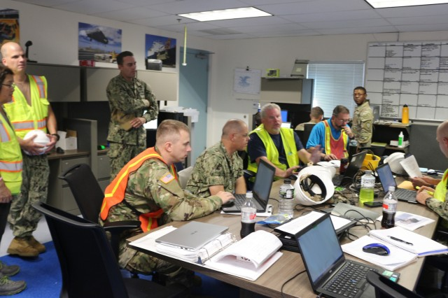 Military personnel, government civilians, and contractors work on the Transportation Management System during staging operations at Pearl Harbor on July 29.