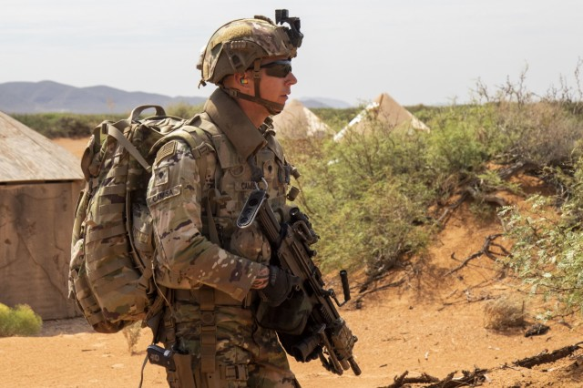 Spc. James Camisa, an M249 light machine gunner assigned to 2nd Platoon, C Company, 1st Battalion, 178th Infantry Regiment of the Illinois National Guard sets up perimeter security during a fly-to-advise training mission at McGregor Range Complex, N.M., August 24, 2019.  The battalion is conducting their post-mobilization training with 5th Armored Brigade, First Army Division West in preparation for their upcoming deployment to the middle-east.