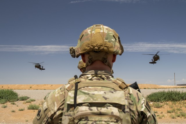 Soldiers assigned to 1st Platoon, D Company, 1st Battalion, 178th Infantry Regiment of the Illinois National Guard are poised to load into UH-60 Blackhawks for a fly-to-advise training mission at McGregor Range Complex, N.M., August 24, 2019.  The battalion is training with 5th Armored Brigade, First Army Division West in preparation for their upcoming deployment to the middle-east.