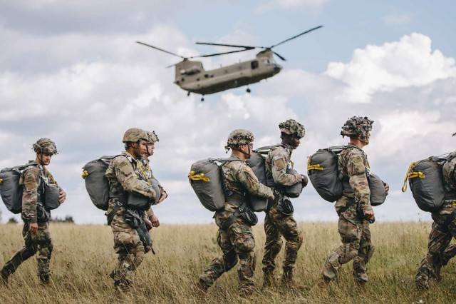 Paratroopers assigned to the 173rd Airborne Brigade perform an airborne proficiency jump over Bunker Drop Zone in Grafenwoehr Training Area, Aug. 14, 2019. Airborne proficiency jumps allow paratroopers to continually experience airborne operations and build upon well-established techniques that refresh their memory and maintain combat readiness.