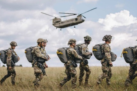 Paratroopers assigned to the 173rd Airborne Brigade perform an airborne proficiency jump over Bunker Drop Zone in Grafenwoehr Training Area, Aug. 14, 2019. Airborne proficiency jumps allow paratroopers to continually experience airborne operations an...