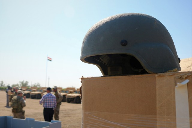 Advanced Combat Helmets  are boxed and ready to go as part of the Organizational Clothing and Individual Equipment package the Iraqi Army is receiving during a Counter-Daesh Train and Equip Fund (CTEF) Divestment at Camp Taji, Iraq, June 29, 2019. The 529th Support Battalion conducts CTEF divestments to assist Iraqi Security Forces strengthen their national security. The Coalition is in Iraq by invitation of, and operates in close coordination with, the Government of Iraq. (U.S. Army National Guard photo by Sgt. Roger Jackson)