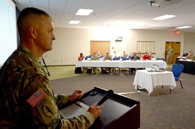 Sergeant Major Litt Moore, HRCoE Capabilities Development and Integration Directorate Sergeant Major, moderating the summit.