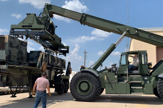 AMCOM's display Patriot missile launcher arrived at Fort Sill, Oklahoma, Aug. 29, where it will be sanded and repainted before representing the air defense artillery at the installation's Bentley Gate. (Photo by Paul Stehlow, 30th Air Defense Artillery Brigade)