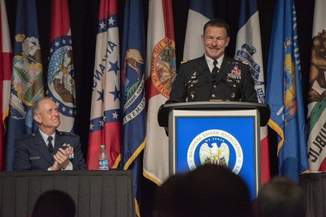 Gen. James McConville, chief of staff of the Army, speaks during the annual conference for the National Guard Association of the United States in Denver Aug. 31, 2019. McConville touted the work of National Guard Soldiers and said the Army plans to take advantage of the skillsets many citizen Soldiers possess.