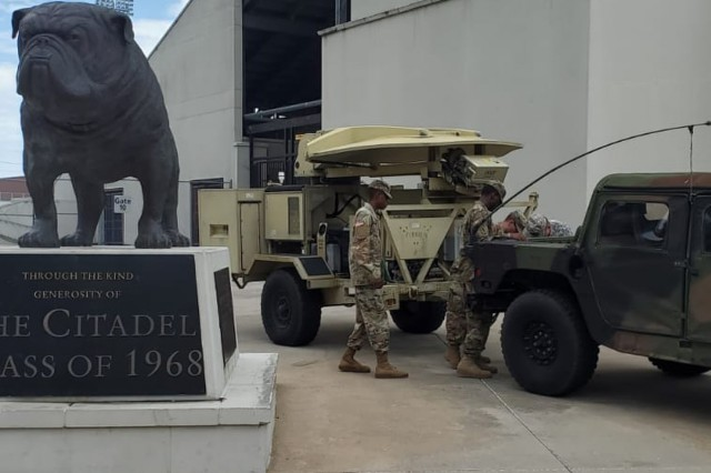 U.S. Army National Guard Soldiers with the 111th Signal Company, 218th Maneuver Enhancement Brigade, prepare communications equipment at the Citadel Readiness Center in Charleston, South Carolina, Sept. 1, 2019, in preparation for response to the impact of Hurricane Dorian to the state. The South Carolina National Guard is ready to support the counties and first responders with whatever resources they need for as long as needed before, during, and after the impact of Hurricane Dorian to South Carolina.