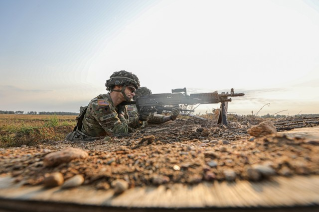Spc. Ralph Gemberling, from the Mechanized Infantry Legion Troop participates in the eFP Battle Group Poland Combined Arms Live Fire Exercise (CALFEX).